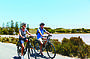 Cycling past the Salt Lakes Rottnest Island